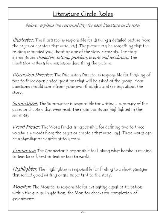 Literature Circles Highland Literacy